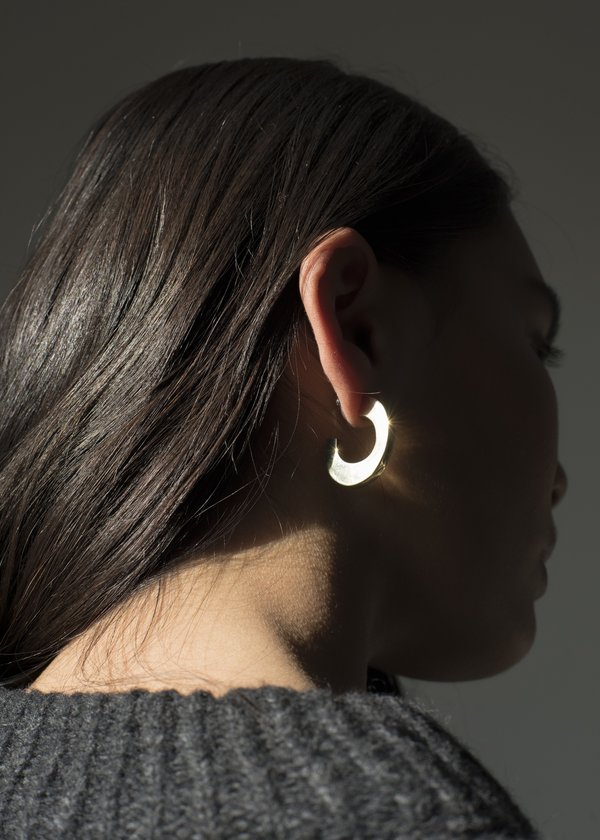 Pari Desai Sculptural Medium Hoops - Sterling Silver