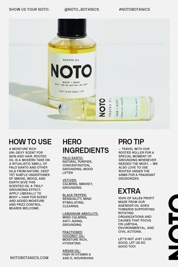 NOTO botanics Rooted Oil