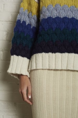 ELEVEN SIX Freya Sweater - IVORY/NAVY MULTI