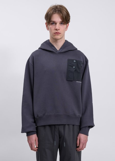 C2H4 Layer Pocket Logo Hoodie - Dark Gray