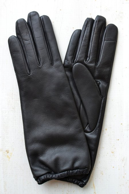 Aristide Long Touchscreen Leather Gloves - Black