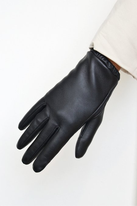 Aristide Short Touchscreen Leather Gloves - Black