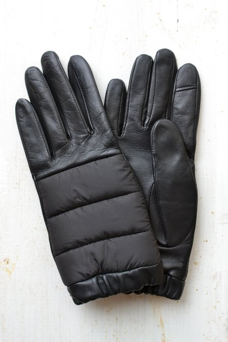 Aristide Touchscreen Leather and Nylon Gloves - Black/Black