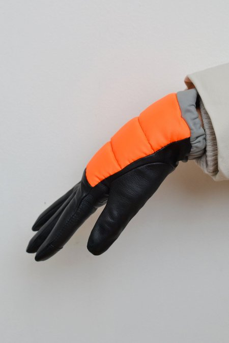 Aristide Touchscreen Leather and Nylon Gloves - Orange/Black