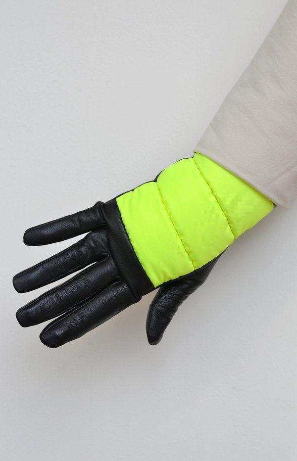 Aristide Touchscreen Leather and Nylon Gloves - Yellow/Black