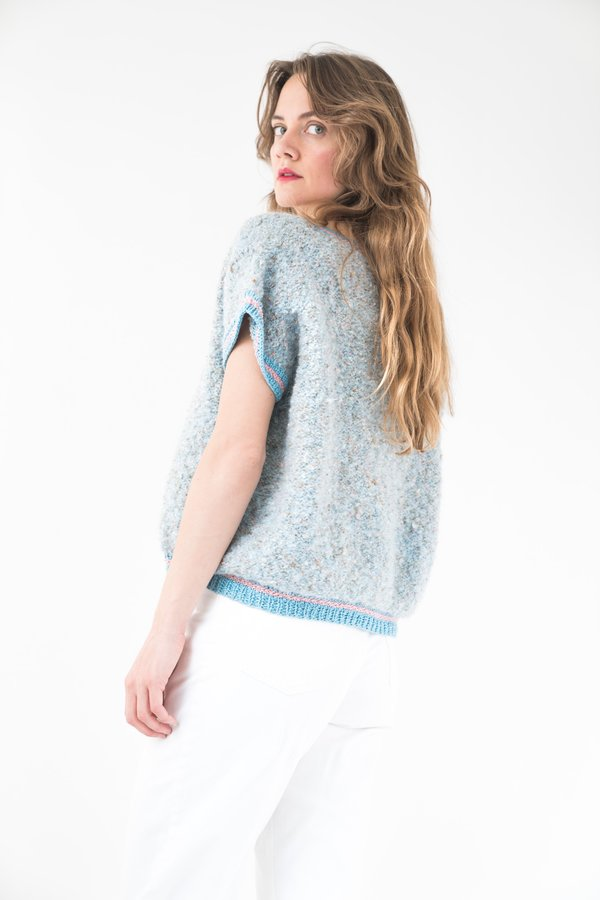 Backtalk PDX Vintage Confetti Sweater Top With Ribbing