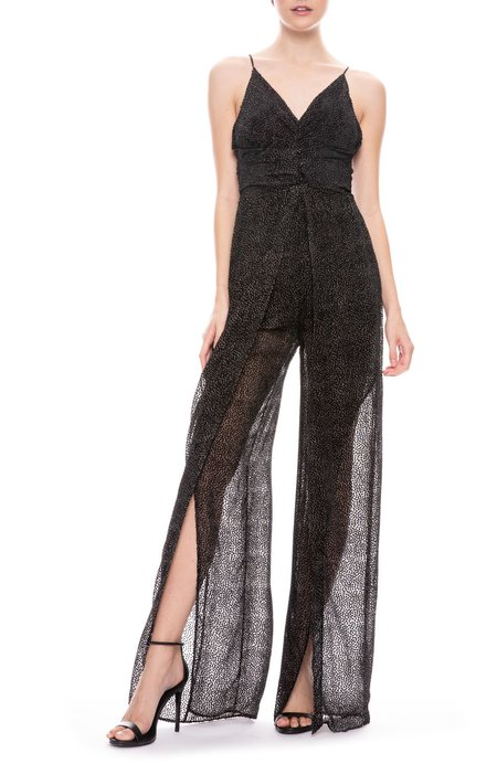 Jonathan Simkhai Dotted Burnout V Neck Jumpsuit - Black/White