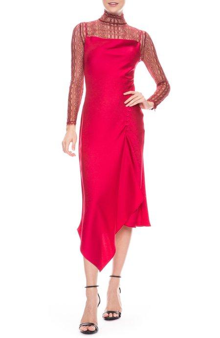 Jonathan Simkhai Sateen Lingerie Lace Overlay Dress - Siren Red