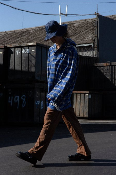 Marni Oversized Pullover Cotton Flannel Shirt with Hood - Blue Check