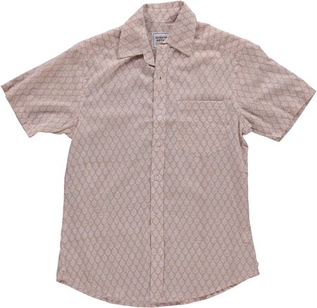 Dushyant Asthana Hand-Printed The Folk Short Sleeve Shirt - Leaf Light Brown Print