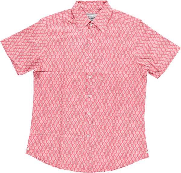 Dushyant Asthana Hand-Printed The Folk Short Sleeve Shirt - Leaf Light Red Print