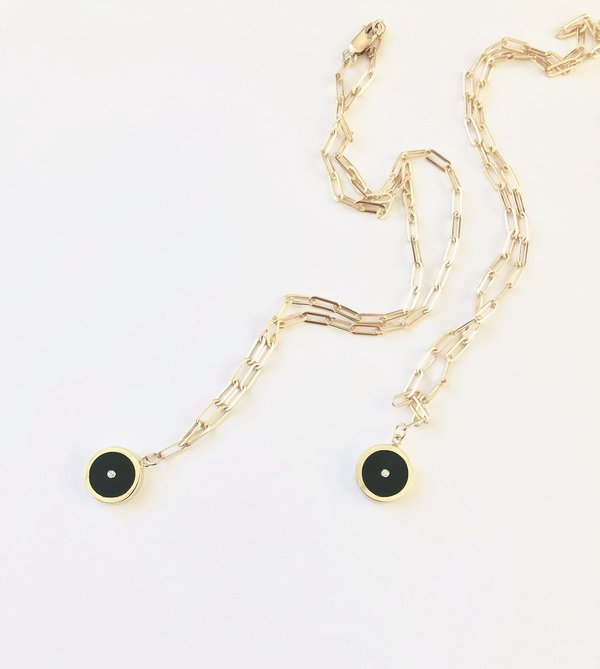 Legier Black Onyx with Diamond Round Stone Signet Pendant & Necklace
