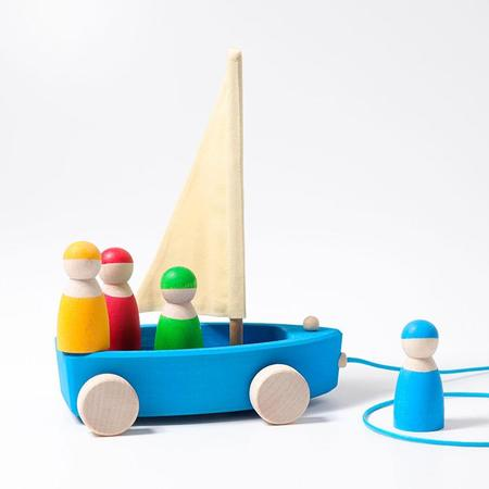 Kids Grimm's Large Wooden Land Yacht Pull Toy On Wheels With Four Sailors