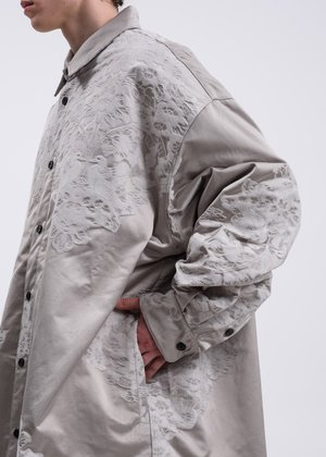 CORNERSTONE Chinese Traditional Embroidery Oversized Jacket - Grey