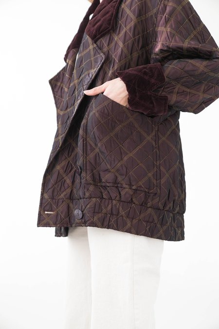 Backtalk PDX Vintage Escada Quilted Holiday Jacket - Merlot/eggplant