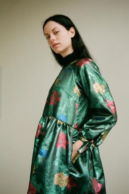 Eliza Faulkner Tallulah Jacquard Dress - Teal Print