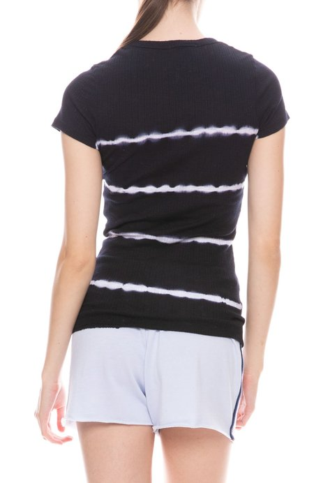 Sundry Cap Sleeve T-Shirt - NAVY TIE DYE