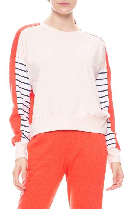 Sundry Stripe Colorblock Sweatshirt - Ballet/Chilli