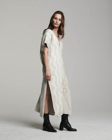 VOZ Textile Two-Panel Dress - Sand/Ivory