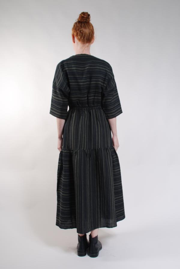 Built by Wendy Boatneck Dress - Black/Olive Stripe