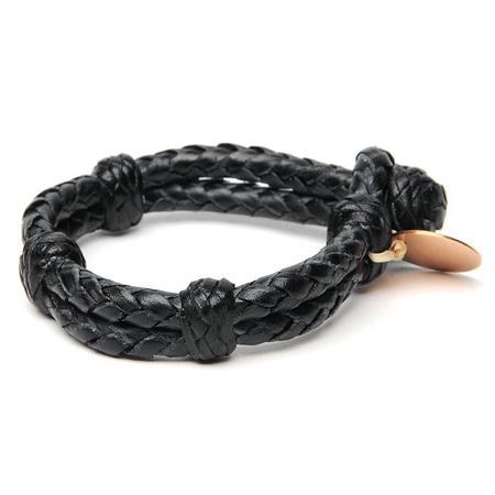 Chamula Double Round Leather Bracelet - Black
