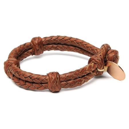 Chamula Double Round Leather Bracelet - Brown