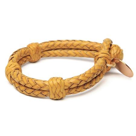 Chamula Double Round Leather Bracelet - Yellow