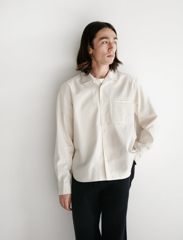 Childs long sleeve Boxy Fit Buttondown - Natural