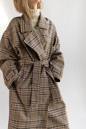 Nomia Oversize Trench - Tan Multi Plaid