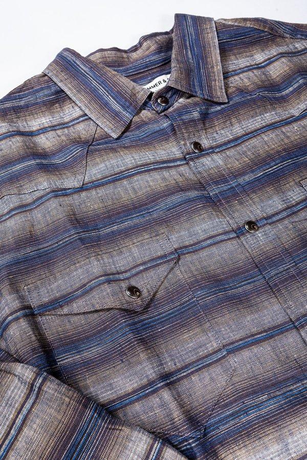 Krammer & Stoudt Wayne Western Shirt - Blue Space-Dyed Stripe