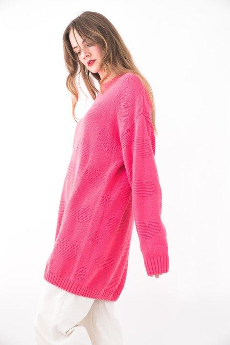 Backtalk PDX Vintage Sweater Heart Pattern - Pink