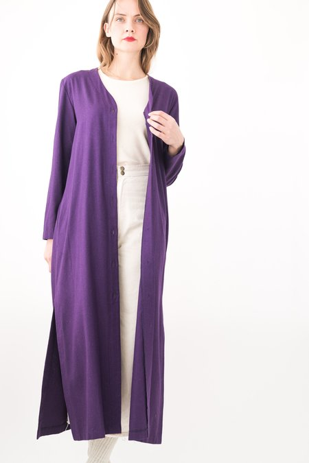 Backtalk PDX Vintage Raw Silk Cardigan - Purple