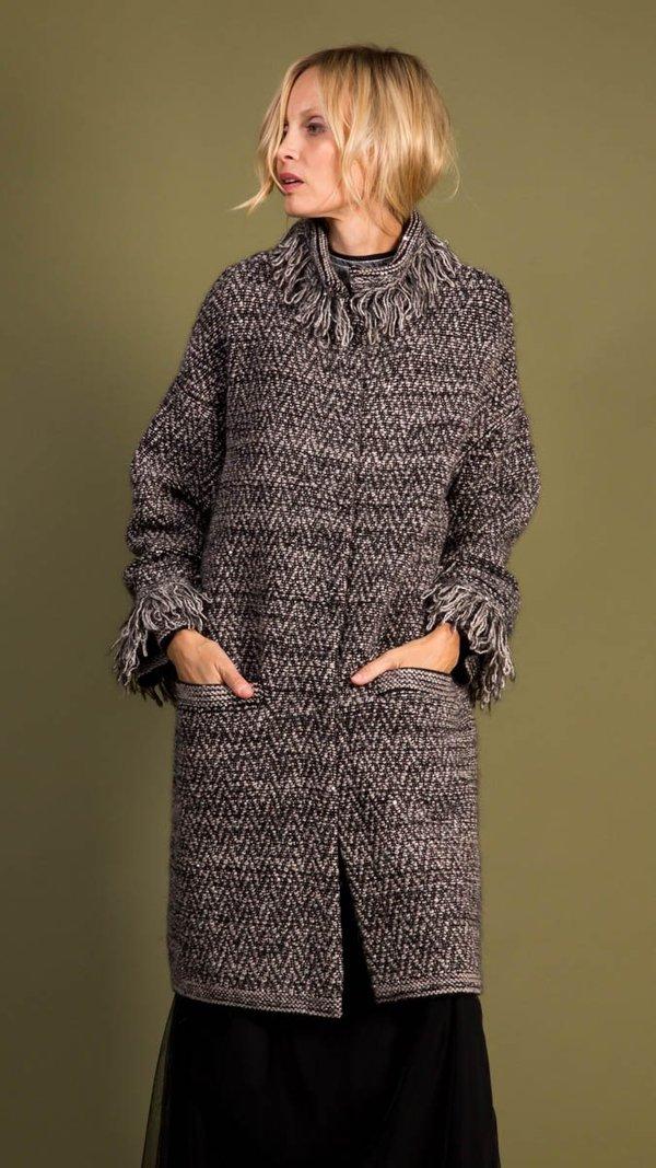 D.Exterior Tweed Coat - Black/Resina Fringe
