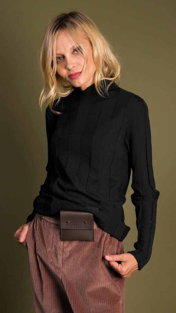 Peserico Wide Ribbed Mock Neck Top with Long Sleeves - Black