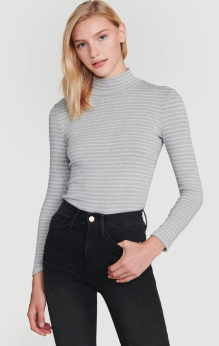 FRAME Denim 70s Long Sleeve Turtleneck Top - Gris multi
