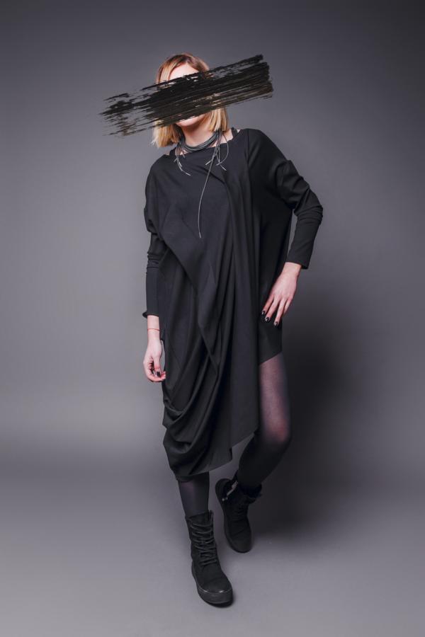 MAKS Asymmetrical Tunic Dress - Black