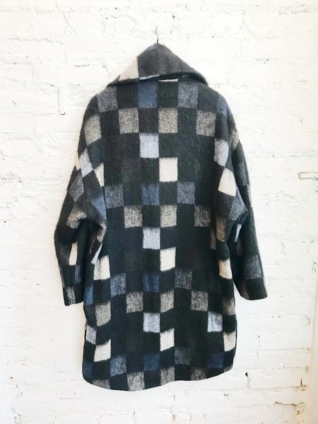 Anett Röstel Check Cocoon Coat - Black Multi