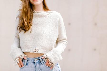 Handspun Hope Distressed Crop Sweater - Natural