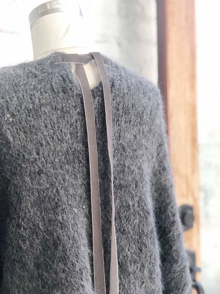 Amano by Lorena Laing Handknit Batwing Tie Sweater - Charcoal