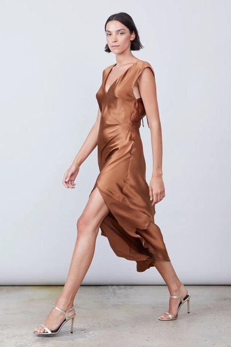 Allen Schwartz Desiree Deep V Silk Dress - Bronze