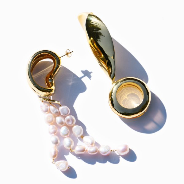 MING YU WANG Berber Earrings - 18k Gold Plated/Pink Pearls