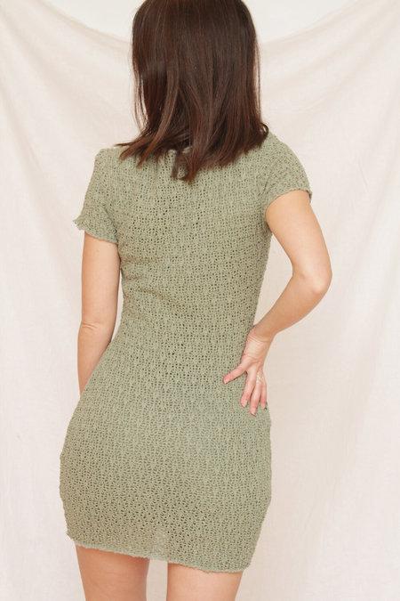 Vintage XOXO Crochet Mini Dress - Moss