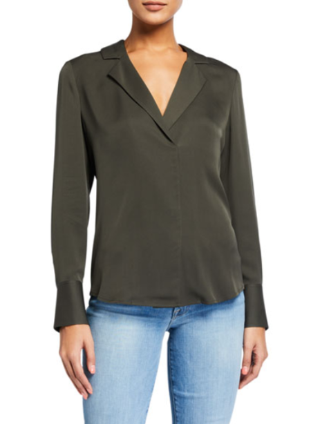 FRAME Denim Fitted Notch Collar Blouse - Deep Moss
