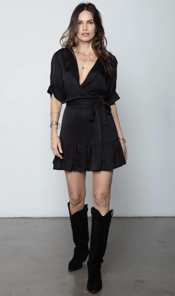 Stillwater The Little Goddess Mini Wrap Dress - Black