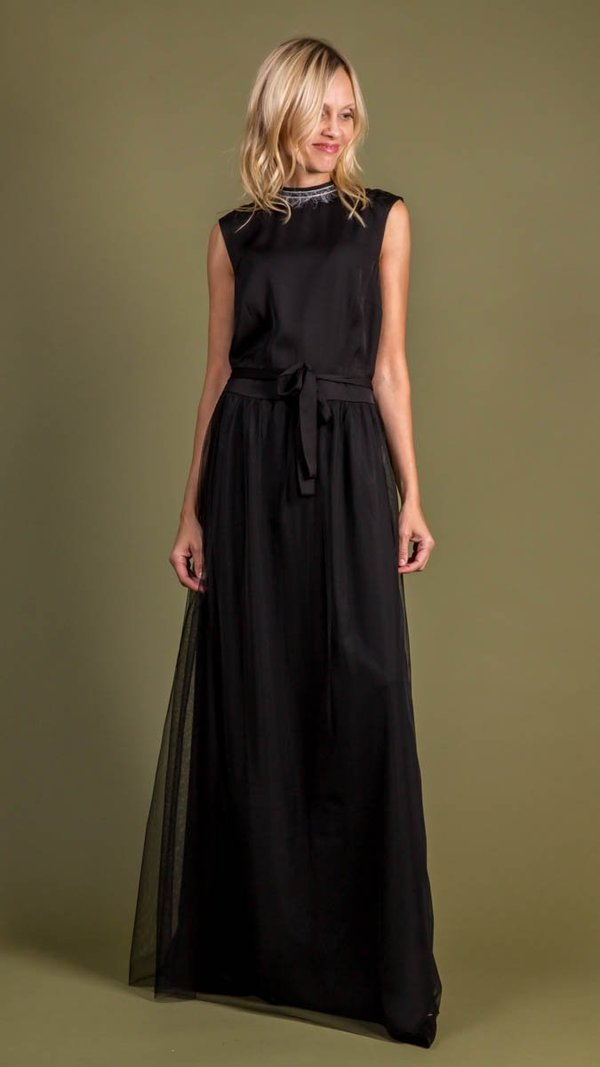 Peserico Satin and Tulle Dress - Black