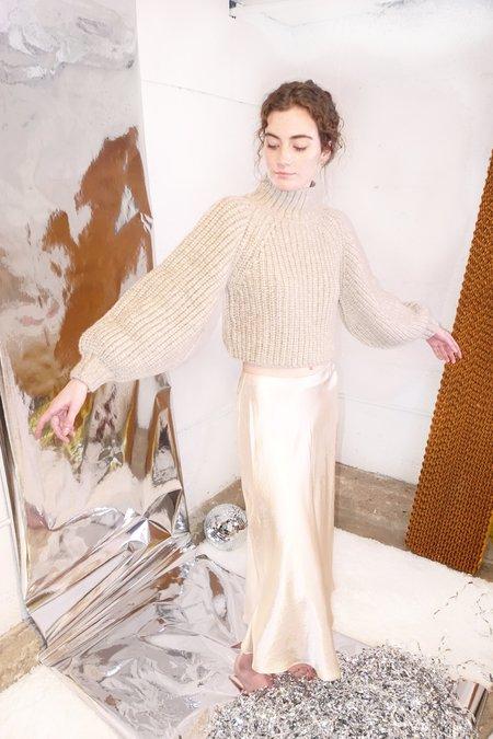 Shaina Mote Bulb Crop Sweater - Beige