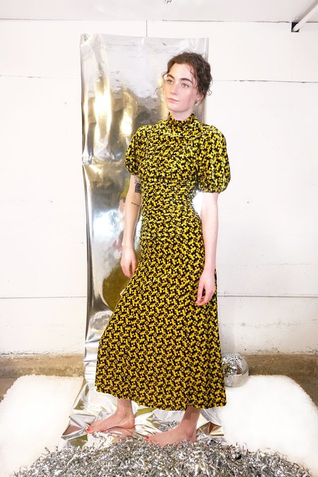 Rachel Comey Hairpin Dress - Yellow Swirl Velvet