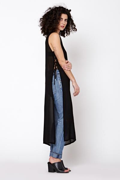 LACAUSA Tie Dress- Black