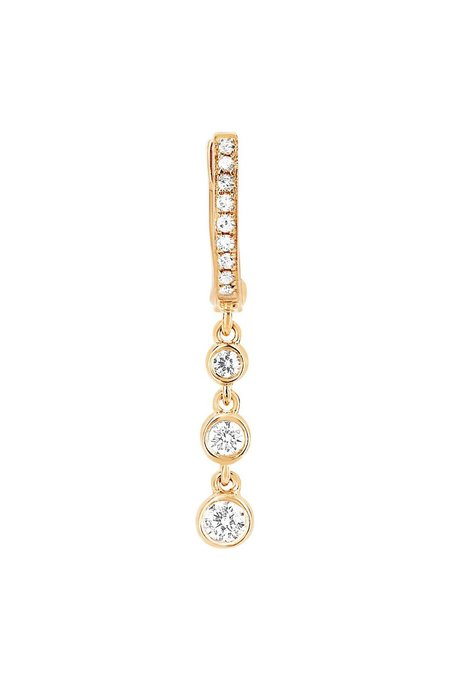 EF Collection Diamond Huggie With Hanging Teardrop - Yellow Gold