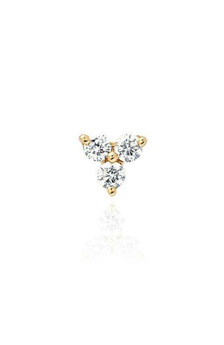 EF Collection Diamond Trio Stud Earring - Yellow Gold